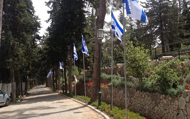 The avenue, and flags, which are set in place before Remembrance Day and then removed (Photo credit: Mitch Ginsburg/ Times of Israel)