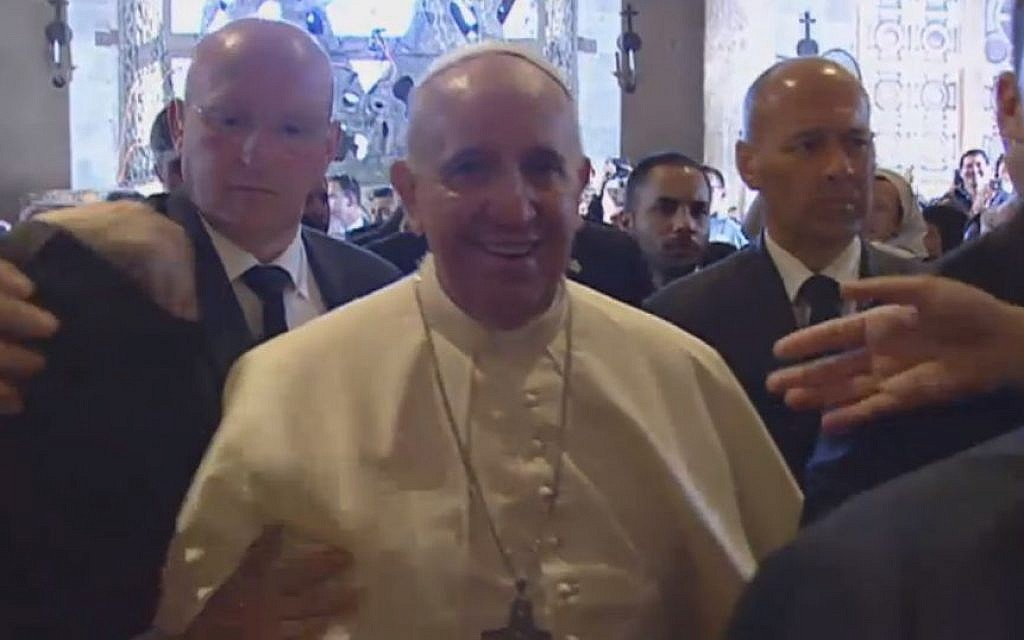 Pope Francis arriving at the Church of Gethsemane Monday. (screen capture: GPO)