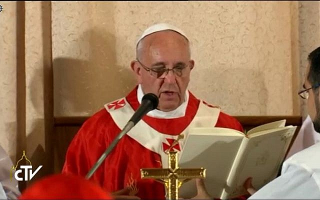 Francis reading the liturgy at Cenacle on Monday. (Screen capture: Vatican TV)