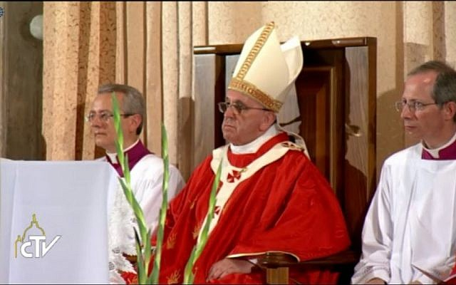 The pope, center, at mass in the Cenacle. (Screen capture: Vatican TV)