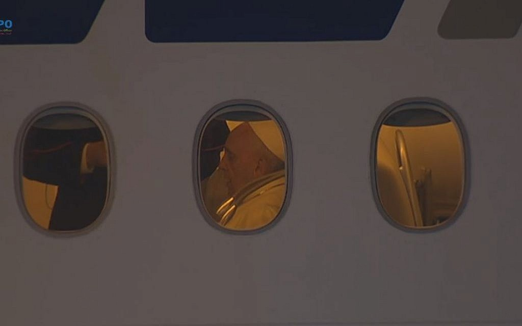 The pope aboard a plane waiting to leave Israel. (Screen capture: GPO)