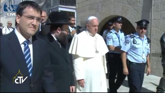 Pope Francis at the Western Wall. (Screen capture: Vatican TV)