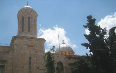 The Rumanian Orthodox Church in Jerusalem. The church's walls were spray painted with anti-Christian graffiti on May 9, 2014 in a suspected price tag attack. (Photo credit: Ilan Ben Zion/Times of Israel staff)