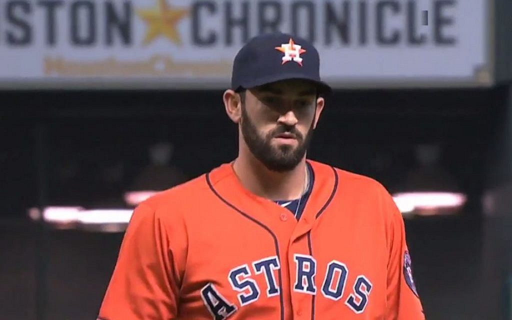 Josh Zeid pitching a game for the Houston Astros. (screen capture: YouTube)