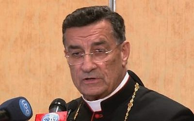 Maronite Patriarch Beshara al-Rai (screen capture: Youtube)