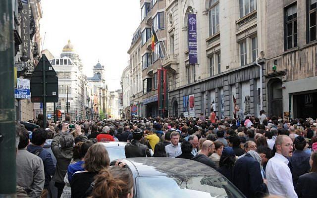 A silent protest at Belgium's Jewish Museum Sunday May 25. (Surya Jonckheere)