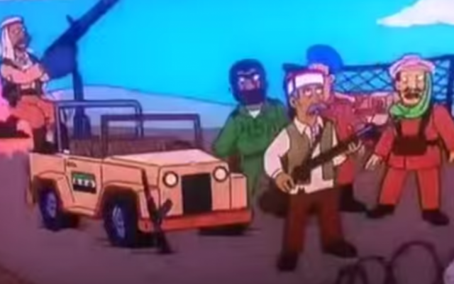 """Frame from Simpsons episode """"New Kids on the Blecch"""" showing a jeep bearing a Syrian opposition flag from 2001, 10 years before the outbreak of the civil war. (screen capture: YouTube)"""