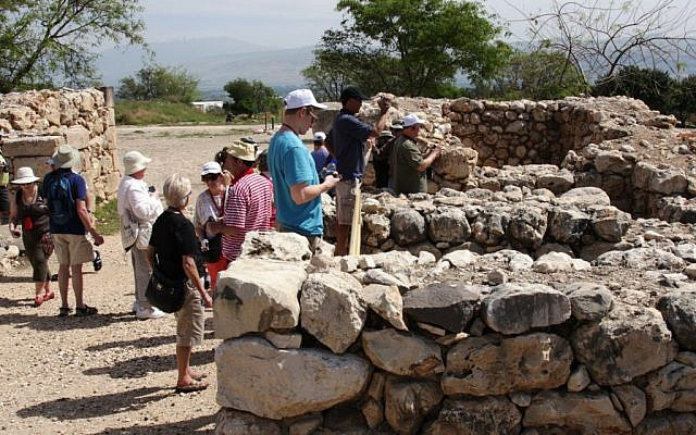 Touring the remains at Tel Hatzor (photo credit: Shmuel Bar-Am)
