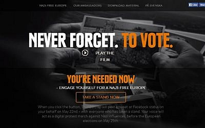 Screenshot from the website 'Never forget to vote,' the campaign launched by Rainer Hoess, grandson of Auschwitz commandant Rudolf Hoess, who now combats the rise of neo-Nazis and right-wing extremists in Europe.