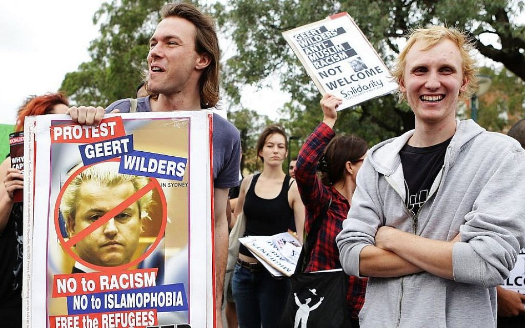 Australian protesters rallying against Dutch politician Geert Wilders in Sydney, Feb. 22, 2013. (Brendon Thorne/Getty Images via JTA)