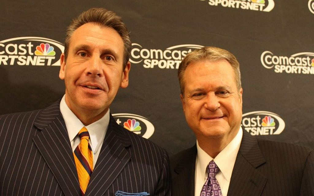 Washington Wizards broadcasters Glenn Consor, left, and Steve Buckhantz are working in the postseason for a change. (Hillel Kuttler/JTA)