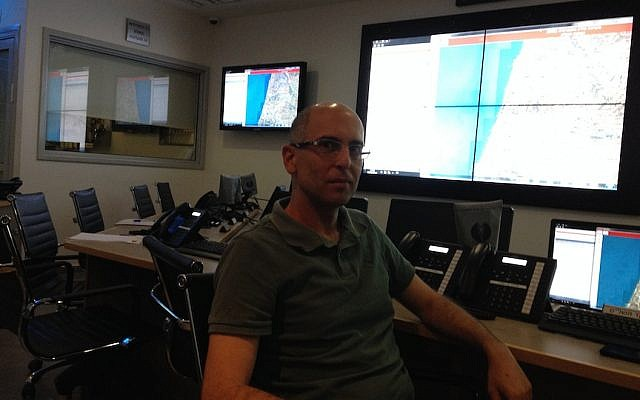 Yoav Kenan, dircector of the project's geographic information system, at Matash's Rishon Lezion center (Photo credit: Courtesy)