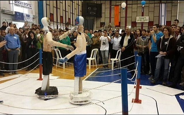 Boxing robots in action at the Israel RoboCup championship (Courtesy)