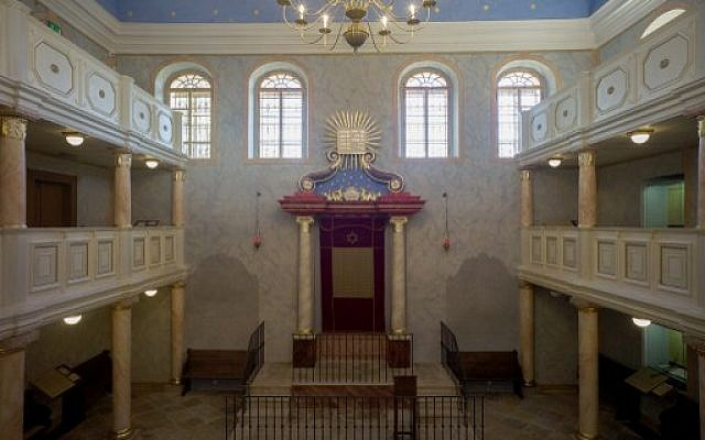 A general view of the interior of the synagogue in Brandys and Labem town, taken on June 6, 2014.  (photo credit: AFP/Michal Cizek)
