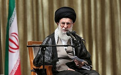 Iranian Supreme Leader Ayatollah Ali Khamenei delivering a speech on the 25th anniversary of the death of the late founder of the Islamic Republic Ayatollah Ruhollah Khomeini, at his mausoleum in a suburb of Tehran on June 4, 2014. (photo credit: AFP/HO/Iranian Supreme Leader's website)