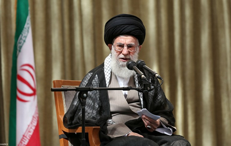 Iranian supreme leader Ayatollah Ali Khamenei delivering a speech on the 25th anniversary of the death of the late founder of the Islamic Republic Ayatollah Ruhollah Khomeini, at his mausoleum in a suburb of Tehran on June 4, 2014. (photo credit: AFP/ HO /Iranian Supreme Leader's Website)