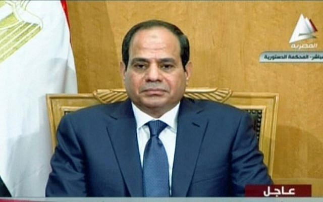 President Abdel Fattah el-Sissi during his swearing in ceremony, on June 7, 2014, in Cairo. (screen capture, Egyptian TV/AFP)