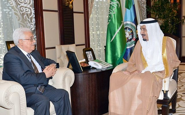 Then Saudi Crown Prince and now King Salman bin Abdulaziz al-Saud (right) meets with Palestinian Authority President Mahmoud Abbas (left) in the Saudi Red Sea resort of Jeddah, on June 18, 2014. (AFP/HO/Saudi Press Agency)
