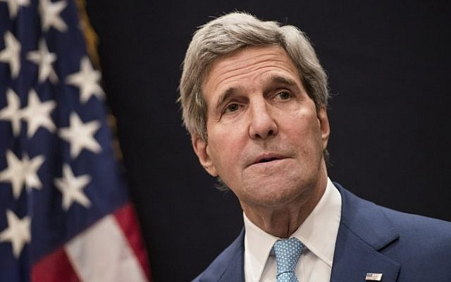 US Secretary of State John Kerry on June 22, 2014 in Cairo. (photo credit: AFP Photo/BRENDAN SMIALOWSKI)