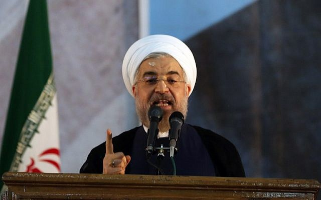 Iranian President Hassan Rouhani delivers a speech in Tehran, June 3, 2014. (photo credit: AFP/ATTA KENARE)