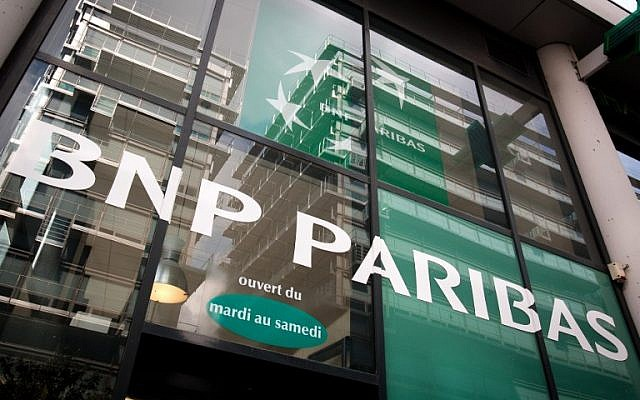 The entrance of a BNP Paribas bank in France (photo credit: AFP/Loic Venance)