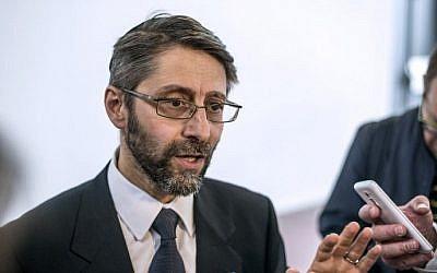 Chief Rabbi of France Haim Korsia speaks to journalists on June 22, 2014, in Paris. (AFP/Fred Dufor)
