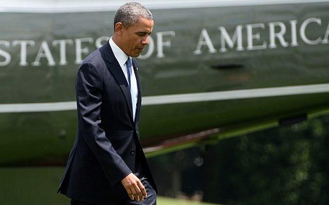 US President Barack Obama arriving at the White House in Washington, DC, on May 28, 2014. (photo credit: AFP Photo/Jewel Samad)