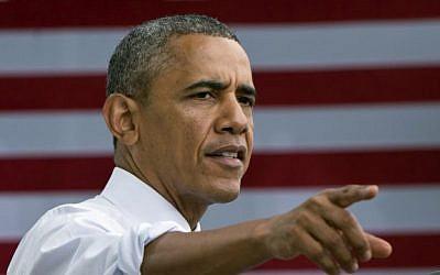 US President Barack Obama speaks on the economy at the Lake Harriet Band Shell in Minneapolis, Minnesota on June 27, 2014. (photo credit: AFP PHOTO/Mandel NGAN)