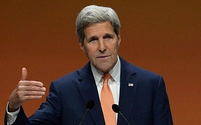 US Secretary of State John Kerry speaks during a press conference on June 13, 2014.  (photo credit: AFP/CARL COURT)