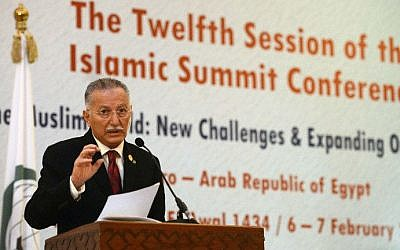 Ekmeleddin Ihsanoglu, speaking at the end of the 12th summit of the OIC in Cairo during his stint as Secretary General of the Organisation of Islamic cooperation (OIC) (photo credit: AFP/Khaled Desouki)