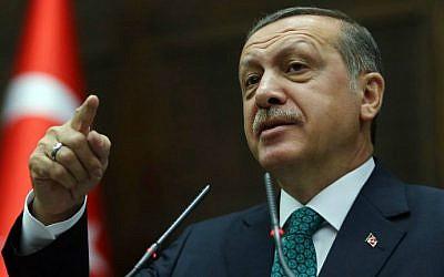 Turkey's Recep Tayyip Erdogan addresses the Turkish Parliament in Ankara on June 24, 2014. (photo credit: AFP/Adem Altan)