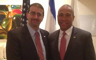 US Ambassador to Israel Dan Shapiro (L) greets Massachusetts Governor Deval Patrick at the King David Hotel last Wednesday (Photo credit: Courtesy)