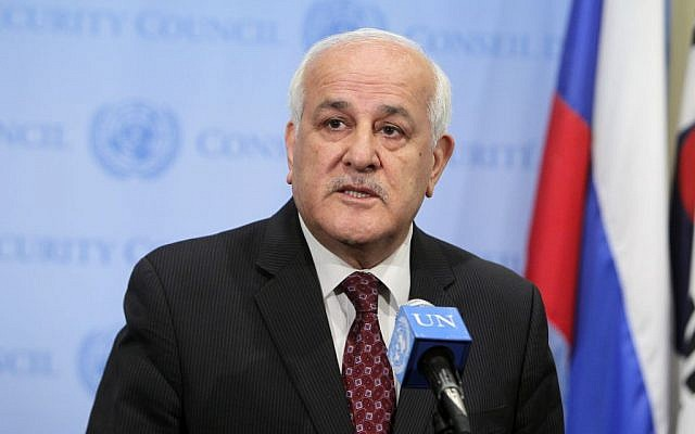 Palestinian representative Riyad Mansour addressing journalists after a UN Security Council meeting, May 2014. (UN/Devra Berkowitz)