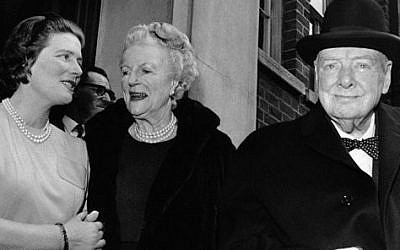 In this April 1, 1963 file photo, Sir Winston and Lady Clementine Churchill, take their leave of their daughter Mary, wife of Agriculture Minister Christopher Soames, after a family luncheon party to celebrate Lady Churchill's 78th birthday at Tufton Court, London. (photo credit: AP Photo/Leonard Brown, File)