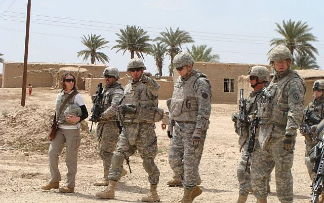 Emma Sky, left, accompanies General Ray Odierno (center) in Iraq's eastern province of Diyala, 2009 (photo credit: Facebook image)