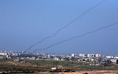 Rockets launched out of Gaza at a southern Israeli town. (photo credit: Yossi Zamir/Flash90/File)