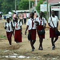 Illustrative photo of Sudanese school children in Juba, South Sudan. (Moshe Shai/Flash90)