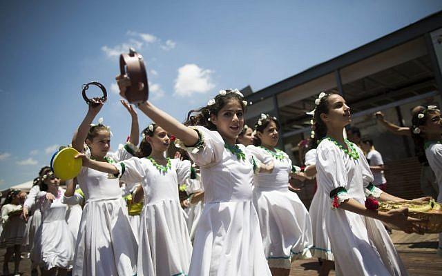 Celebrating the harvest on Shavuot at Jerusalem's First Station (photo credit: Yonatan Sindel/Flash 90)