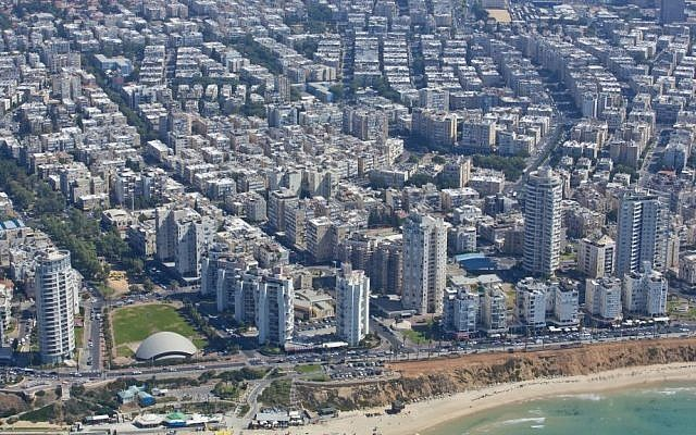 Aerial view of the coastal town of Bat Yam, October 11, 2013. (Moshe Shai/Flash90)