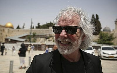 Chuck Leavell, keyboard player touring with the Rolling Stones, seen visiting the Western Wall in Jerusalem's Old City on Tuesday, June 3, 2014, a day before the band's concert in Tel Aviv (Photo credit: Hadas Parush/Flash 90)