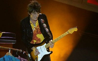 The Rolling Stones guitarist, Ronnie Wood, during the band's concert in Tel Aviv, Israel, on June 4, 2014. (Photo credit: Flash 90)