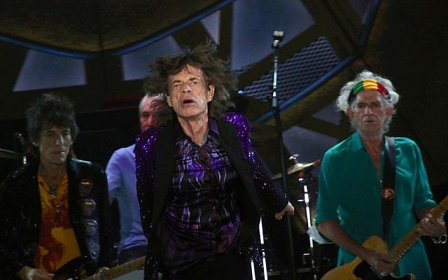 The Rolling Stones in Tel Aviv (from left): Wood, Watts, Jagger and Richards (photo credit: Flash90)