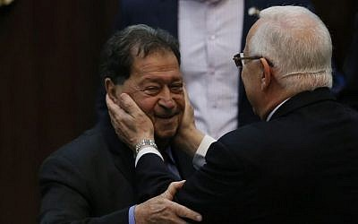Then-presidential candidate Reuven Rivlin seen with former presidential candidate and then-MK Binyamin Ben-Eliezer in the Knesset during presidential elections, Tuesday, June 10, 2014. (Miriam Alster/Flash90)