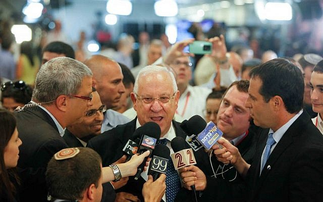 Israeli president-elect Reuven Rivlin speaks to members of the press at the Knesset in Jerusalem, Tuesday, June 10, 2014 (photo credit: Yonatan Sindel/FLASH90)