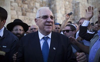 Reuven Rivlin at the Western Wall after winning the presidency, June 2014. (photo credit: Yonatan Sindel/Flash90)