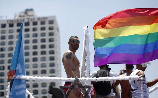 Participants in the annual gay Pride parade in Tel Aviv on June 13, 2014 (Photo credit: Yonatan Sindel/Flash90)
