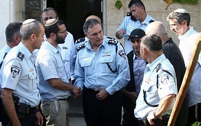 Police Commissioner Yohanan Danino at the house of Gil-ad Shaer, in Talmon, on June 17, 2014 (Roni Schutzer/Flash90)
