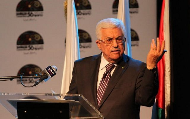 Palestinian Authority President Mahmoud Abbas gestures as he speaks during a conference in the West Bank city of Ramallah June 19, 2014. (photo credit: Issam Rimawi/Flash90)