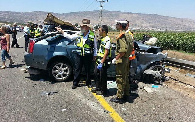 A fatal crash near Kfar Manda on June 26, 2914. (photo credit:  Aharon Baruch Leibowitz/ZAKA/FLASH90)