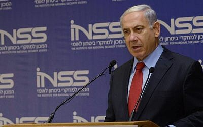 Prime Minister Benjamin Netanyahu speaks at a conference organized by the Institute for National Secuirty Studies in Tel Aviv on Sunday, June 29, 2014 (photo credit: Amos Ben Gershom/GPO/FLASH90)